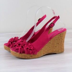 Twisted Pink Ruffle Cork Look Wedge Sandals Size 9